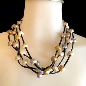 Freshwater Pearl Necklace on leather